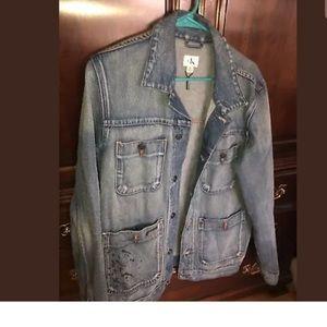 Denim CalvinKlein jacket retail$148 black SPLATTER